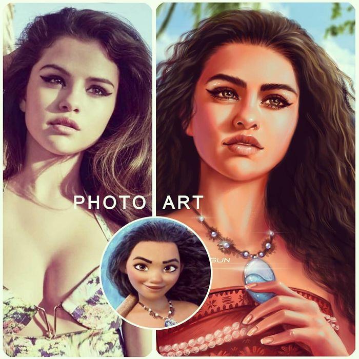 Selena Gomez como Moana ilustrada por Helen Morgun