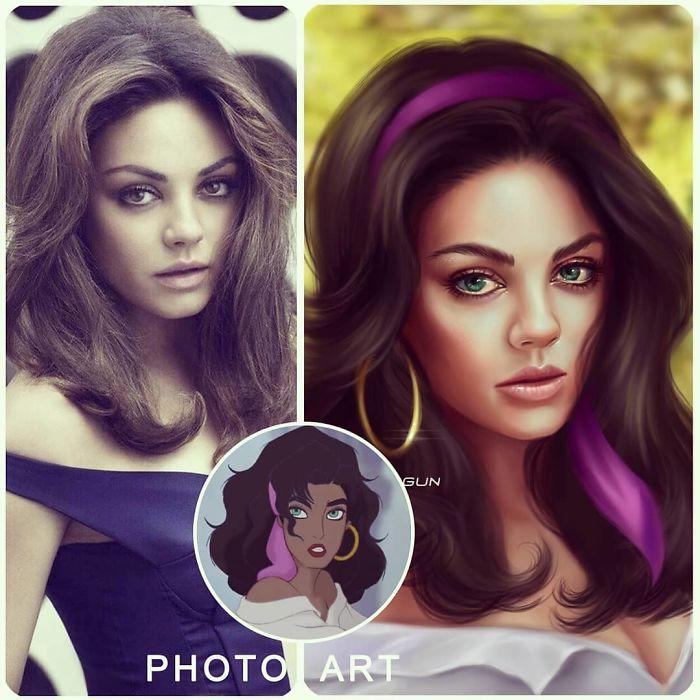 Mila Kunis como Esmeralda ilustrada por Helen Morgun
