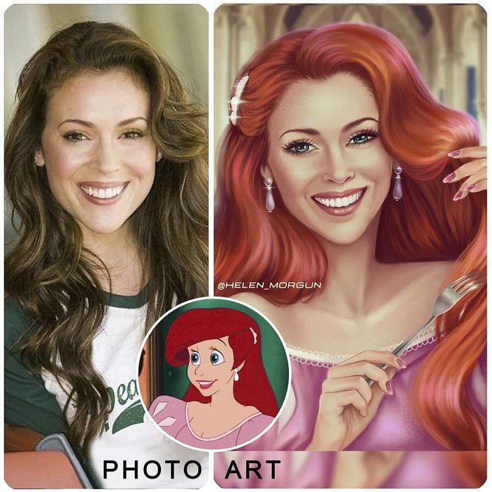 Alyssa Milano como Ariel ilustrada por Helen Morgun