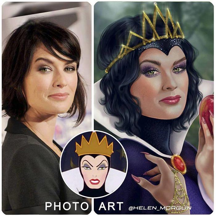 Lena Headey como La reina malvada ilustrada por Helen Morgun