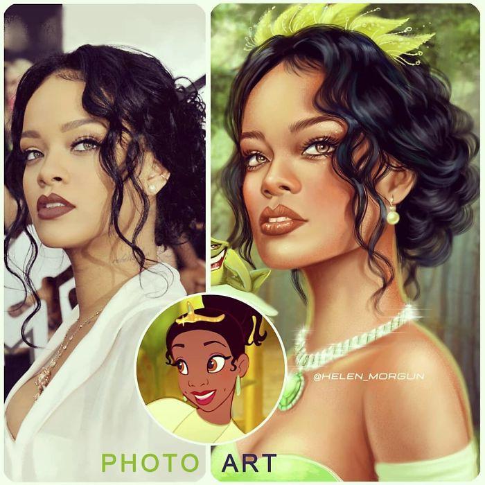 Rihanna como Tiana ilustrada por Helen Morgun