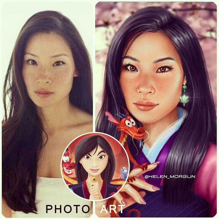 Lucy Liu como Mulan ilustrada por Helen Morgun