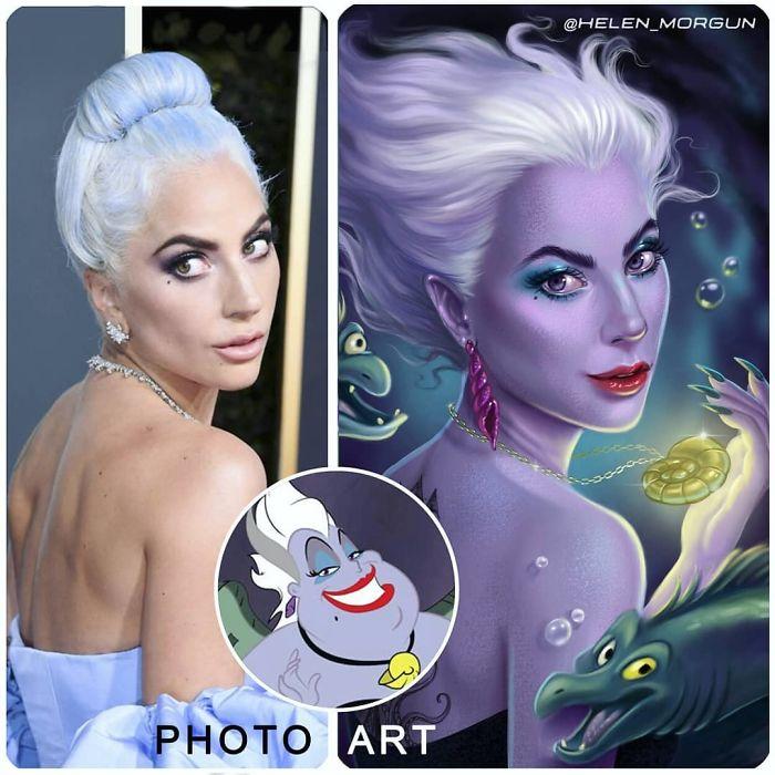 Lady Gaga como Úrsula ilustrada por Helen Morgun