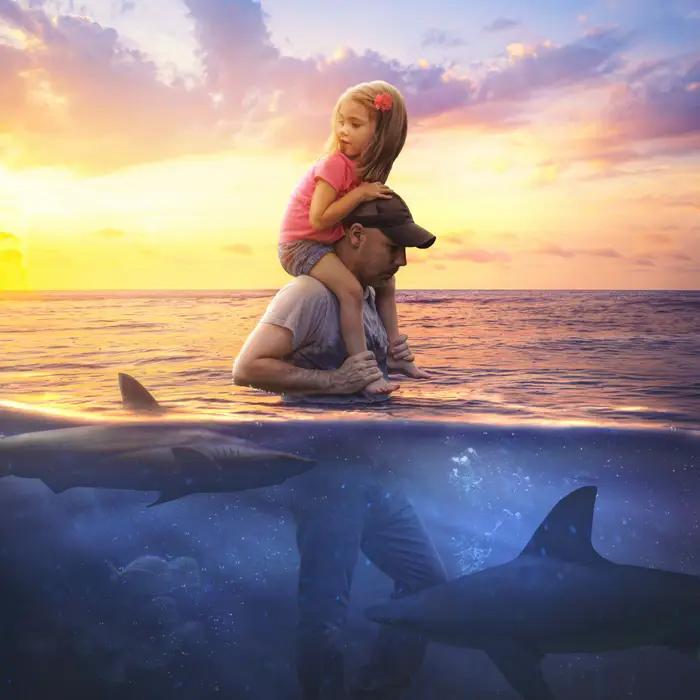 Ilustración digital de Kevin Carden, hombre cargando a su hija en brazos