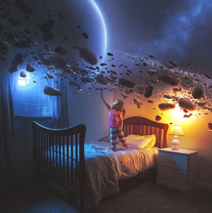 Ilustración digital de Kevin Carden, niña tocando meteoritos en su habitación
