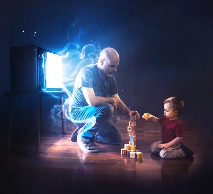 Ilustración digital de Kevin Carden, hombre jugando jenga con su hija