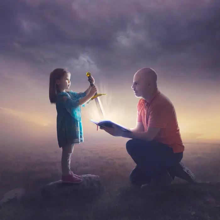 Ilustración digital de Kevin Carden, hombre sosteniendo un libro con niña