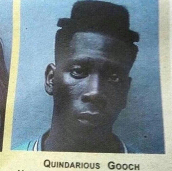 Hombre con corte de cabello en forma de sombrero