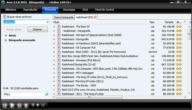 Captura de pantalla con descarga de Ares