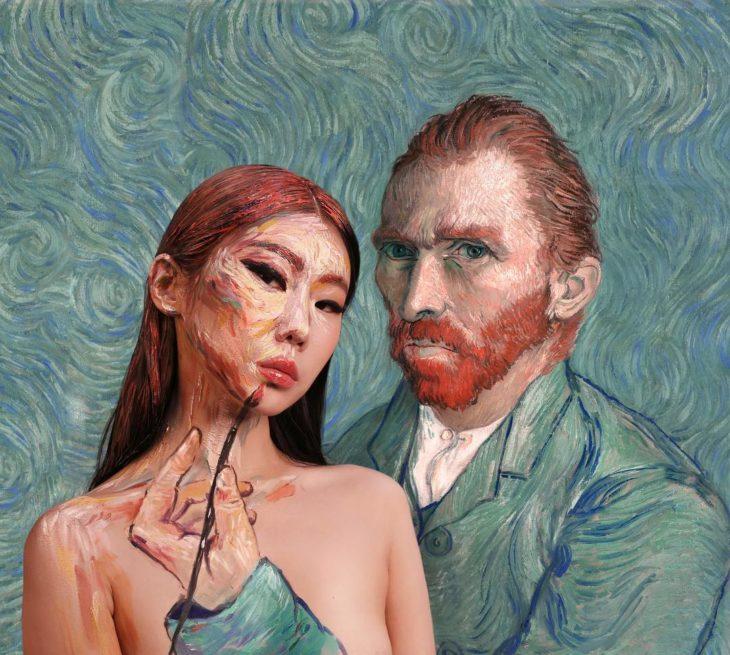 Dain Yoon, artista maquillaje, pintura inspirada en Van Gogh
