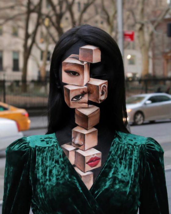Dain Yoon, artista maquillaje, pintura con efecto de cubos tridimensionales