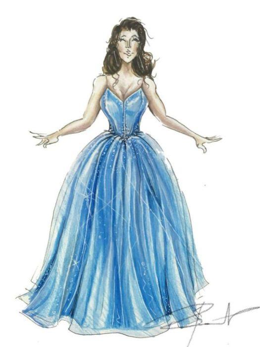 Bosquejo de u vestido azul cielo estilo princesa