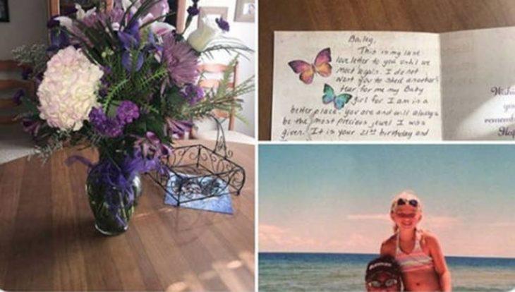 Flores, nota de cumpleaños y fotografía de padre e hija