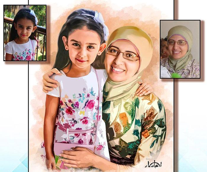 Fotos y dibujo de una niña y su mamá