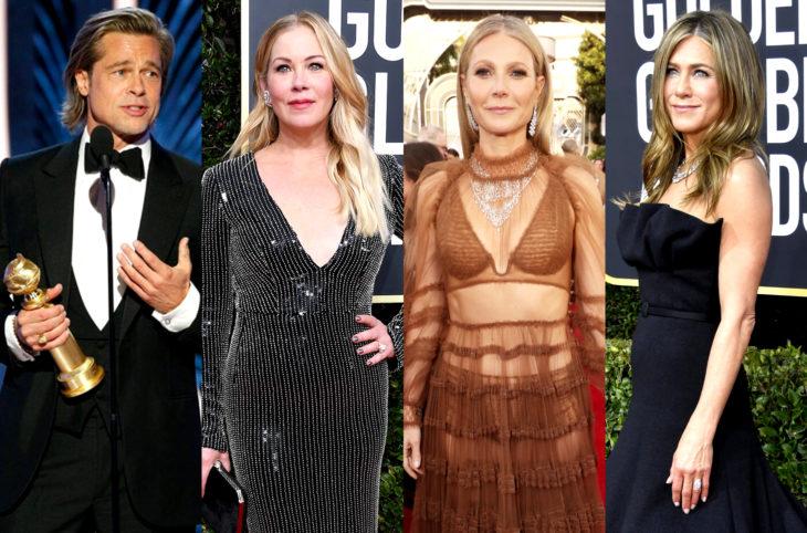 Los mejores momentos de los Golden Globes; Brad Pitt con sus tres exnovias: Christina Applegate, Gwyneth Paltrow y Jennifer Aniston