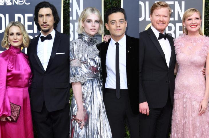 Los mejores momentos de los Golden Globes 2020; Adam Driver, Joanne Tucker, Rami Malek, Lucy Boynton, Kristen Dunst y Jesse Plemons; parejas en la alfombra roja