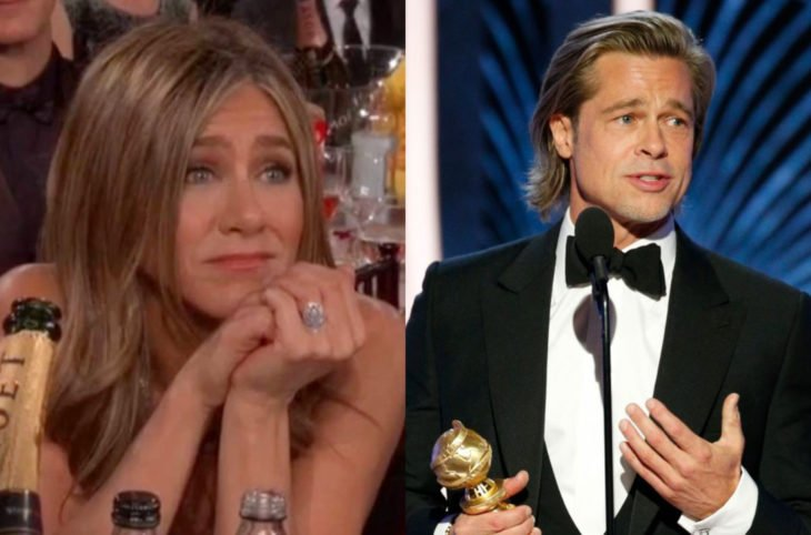 Los mejores momentos de los Golden Globes 2020; Jennifer Aniston mirando a Brad Pitt durante discurso