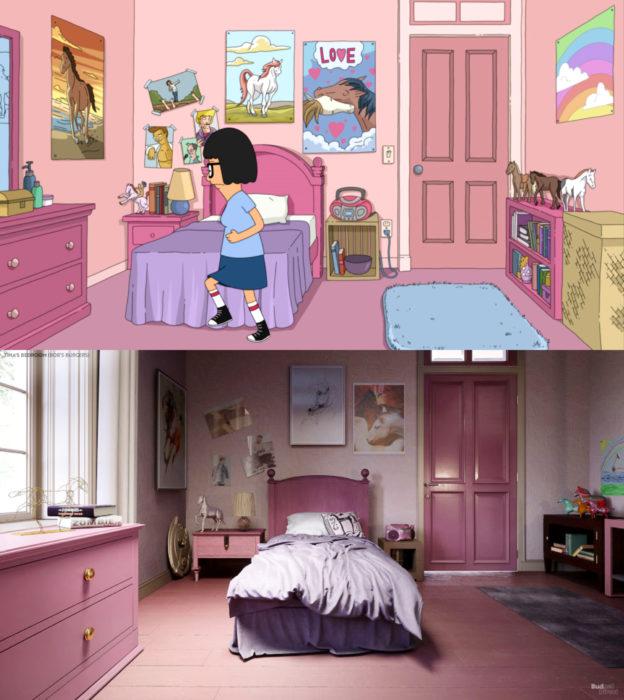 Así lucirían en la vida real las habitaciones más famosas de las caricaturas que amamos; Tina Belcher, Bob's Burgers
