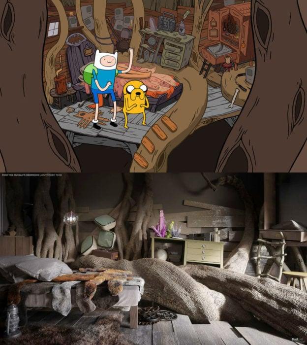 Así lucirían en la vida real las habitaciones más famosas de las caricaturas que amamos; Finn y Jake de Hora de Aventura