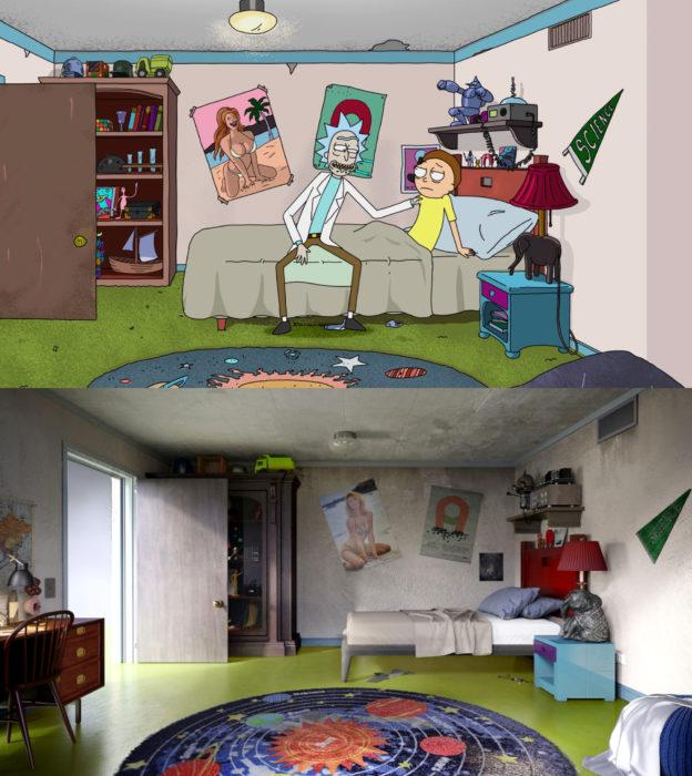 Así lucirían en la vida real las habitaciones más famosas de las caricaturas que amamos; Rick y Morty