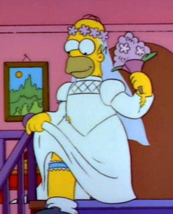 Mujeres prefieren a hombres con barba, tatuados y con panza; Homero Simpson vestido de novia