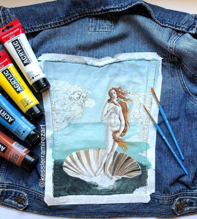 Jeans pintados con obras de arte por Kessler Ramirez; El nacimiento de Venus, Sandro Botticelli