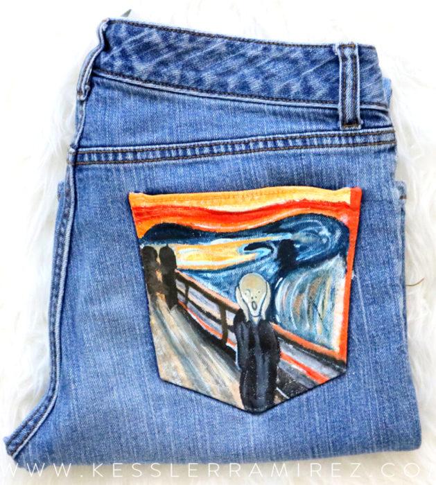 Jeans pintados con obras de arte por Kessler Ramirez; El grito, Edvard Munch