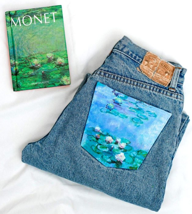 Jeans pintados con obras de arte por Kessler Ramirez; Nenúfares, Claude Monet