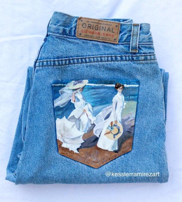 Jeans pintados con obras de arte por Kessler Ramirez; Paseo a orillas del mar, Joaquín Sorolla
