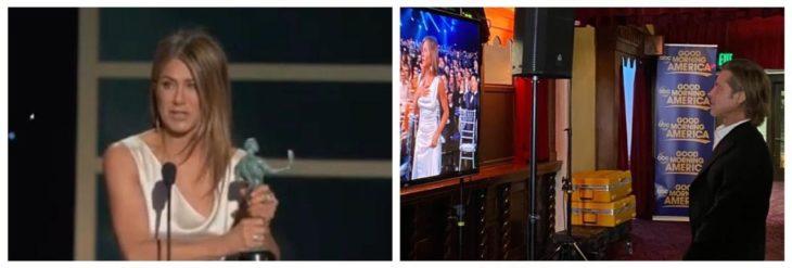 Brad Pitt viendo a jjenifer aniston ganar premio SAG
