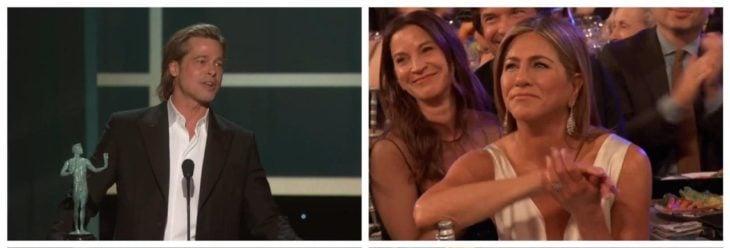 Jennifer Aniston viendo a Brad Pitt recibir premio SAG