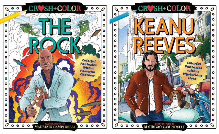 Portadas de los libros para colorear creados por Maurizio Campidelli, The Rock y Keanu Reeves