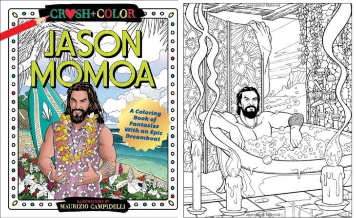 Portada del libro para colorear de Jason Momoa creado por Maurizio Campidelli