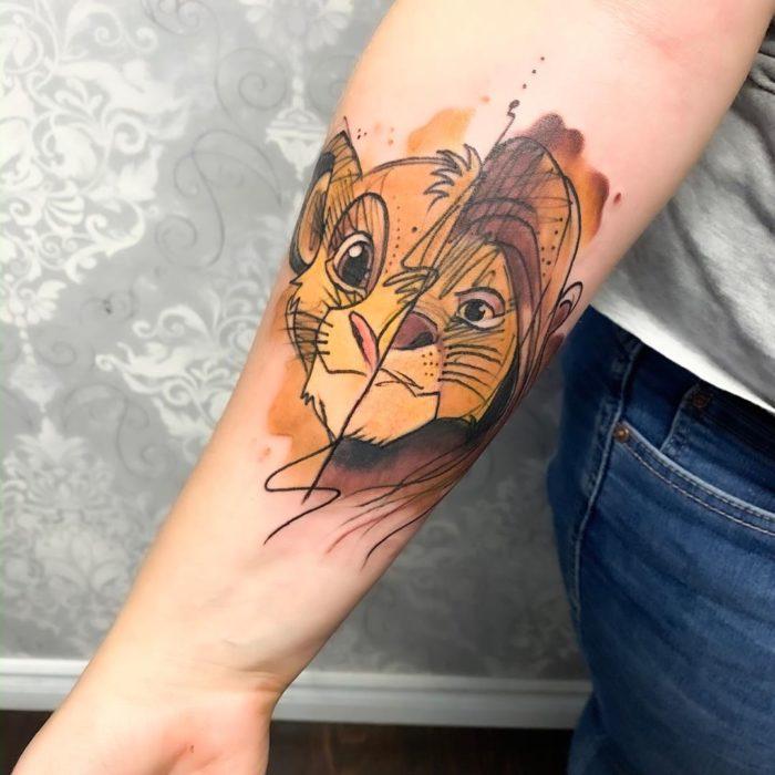 Tatuaje de Simba y Mufasa, El rey león, Disney