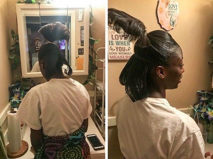 Mujer de africana con media cola y gel