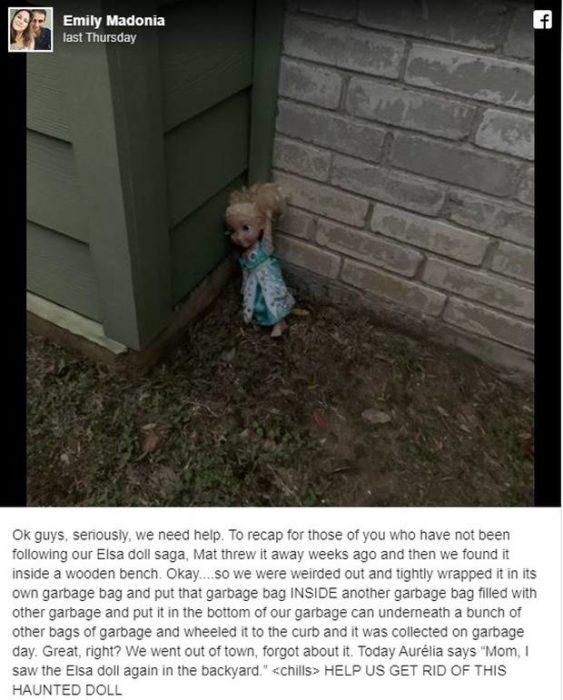 Publicación en facebook sobre una muñeca que dicen está poseída