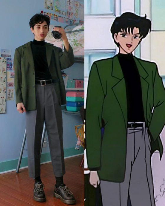 celestialyouth, joven recrea atuendos vintage de Sailor Moon; Tuxedo Mask, Darien, camisa negra, saco verde, pantalón capri gris
