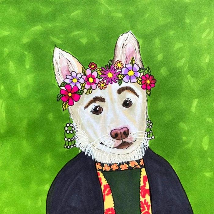 Betty, la perra con cejas; ilustración de cachorra blanca con orejas paradas, corona de flores como Frida Kahlo