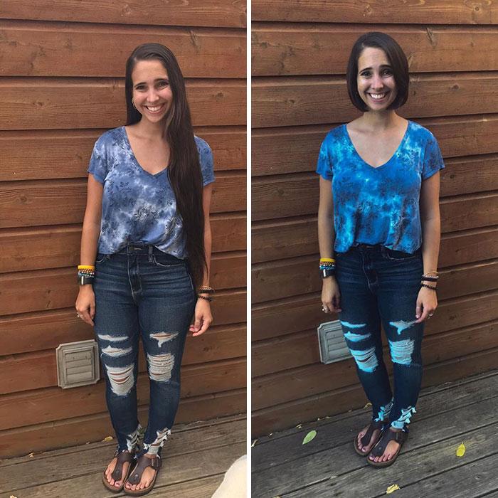 Chica son jeans, recargado en una pared, antes y después de donar su cabello a la estilista