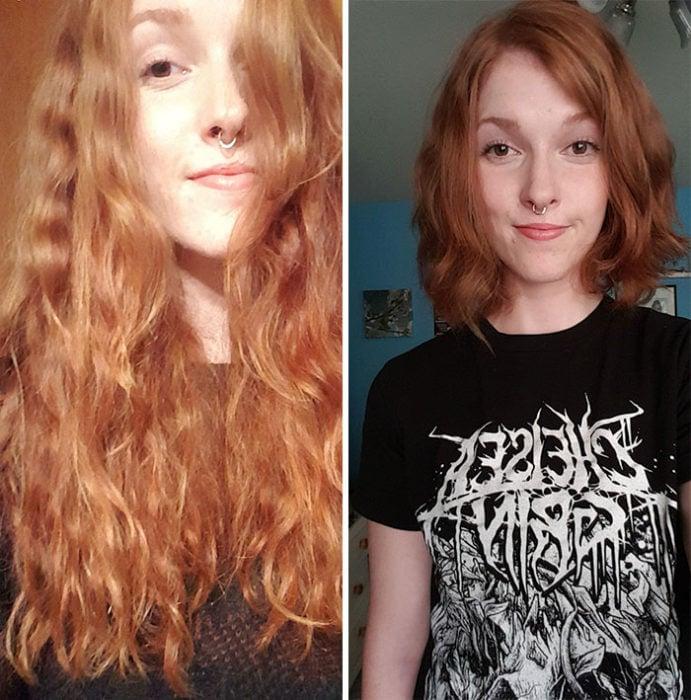 Chica tomando una selfie antes y después de donar su cabello a la estilista Hayley Pritchard