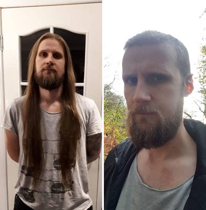 Hombre posando de perfil antes y después de donar su cabello a la estilista Hayley Pritchard