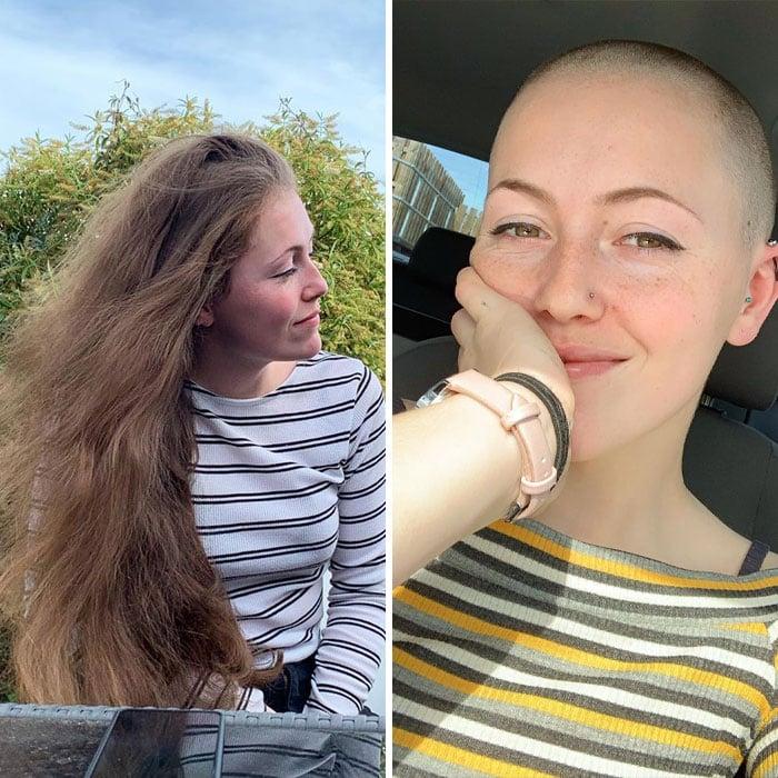 Chica sonriendo dentro de un auto antes y después de donar su cabello a la estilista Hayley Pritchard