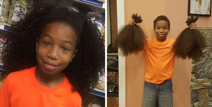 Niña sonriendo antes y después de donar su cabello a la estilista Hayley Pritchard