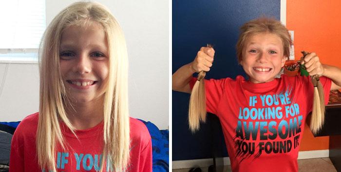 Niño sosteniendo su cabello antes y después de donar su cabello a la estilista Hayley Pritchard