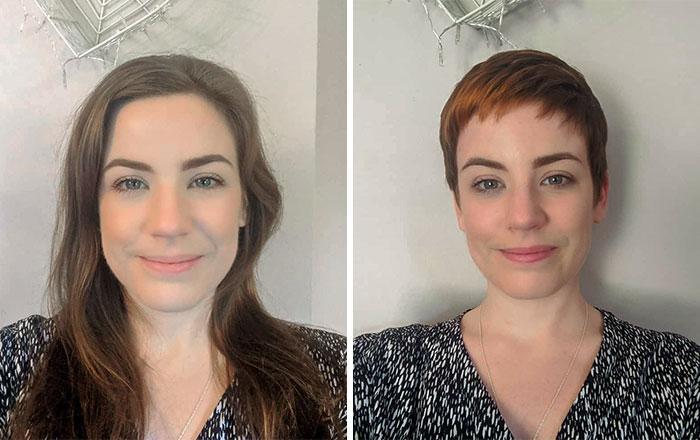 Mujer sonriendo antes y después de donar su cabello a la estilista Hayley Pritchard