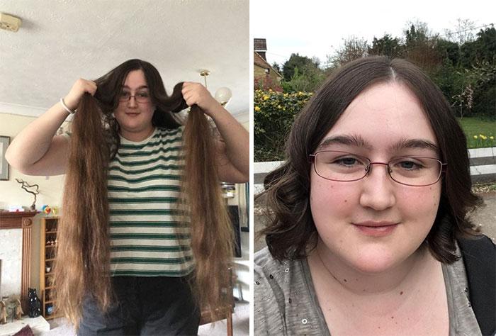 Chica modelando su antes y después de donar su cabello a la estilista Hayley Pritchard