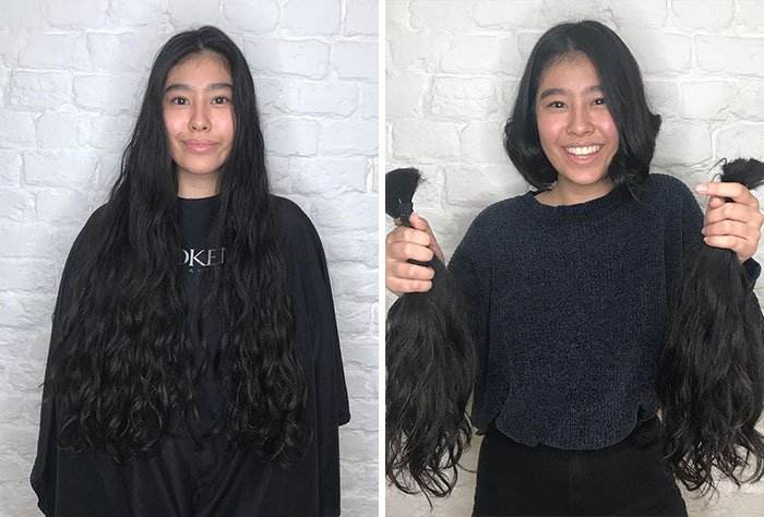 Chica sosteniendo su melena antes y después de donar su cabello a la estilista Hayley Pritchard