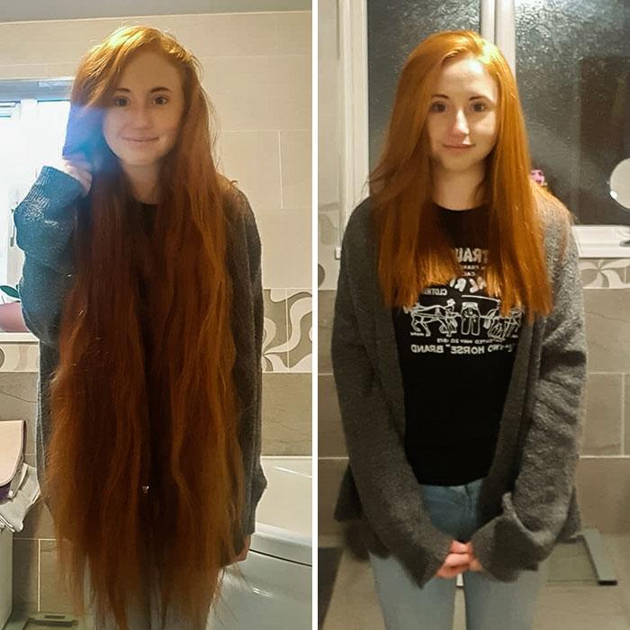 Chica dentro de su recamara antes y después de donar su cabello a la estilista Hayley Pritchard
