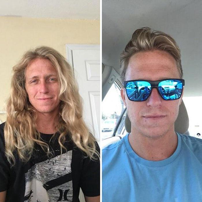 Hombre dentro de una habitación antes y después de donar su cabello a la estilista Hayley Pritchard