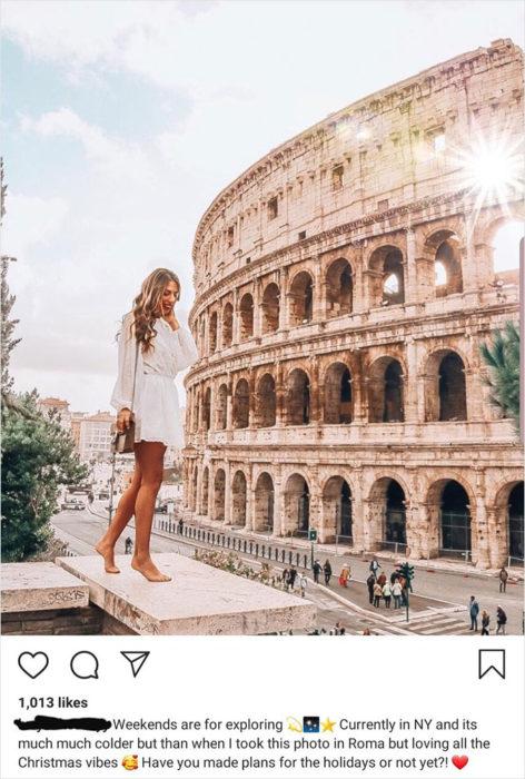 Chica photoshopeada en una imagen de italia